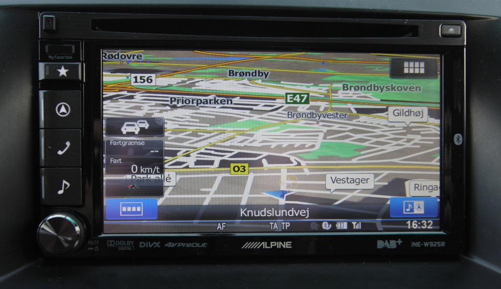 Her er kortet som det ser ud når du kører uden navigation aktiveret.