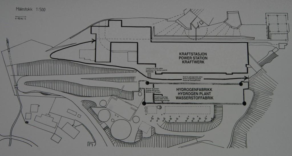 Skitse over kraftværket og tungtvands fabrikken.