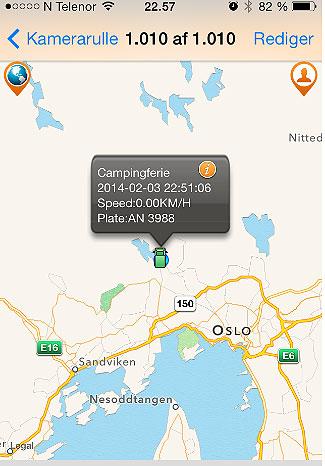 Sådan så billedet ud på min mobil da vi til aften var ankommet til Bogstad Camping i Oslo. Du kan zoome ind og ud på kortet og spille en lille film der viser ruten vi har kørt i løbet af dagen. Ganske smart. Jeg skal bruge systemet til at sikre at min campingvogn ikke bliver stjålet. Man kan nemlig lægge et Geohegn om vognen så hvis nogen flytter den bare en meter får jeg en SMS og kan se hvor den kører på kortet på min mobil eller PC.