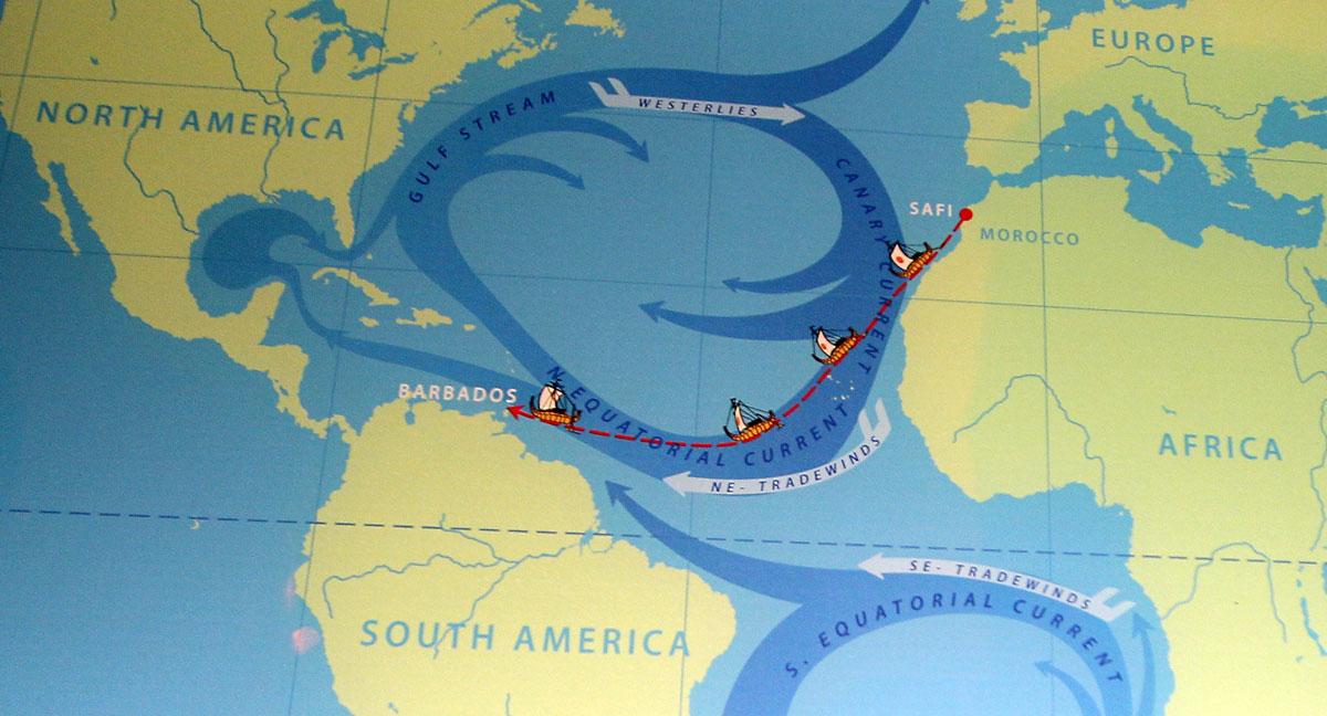 Kort over Thor Heyerdahls vellykede RA II ekspedition.