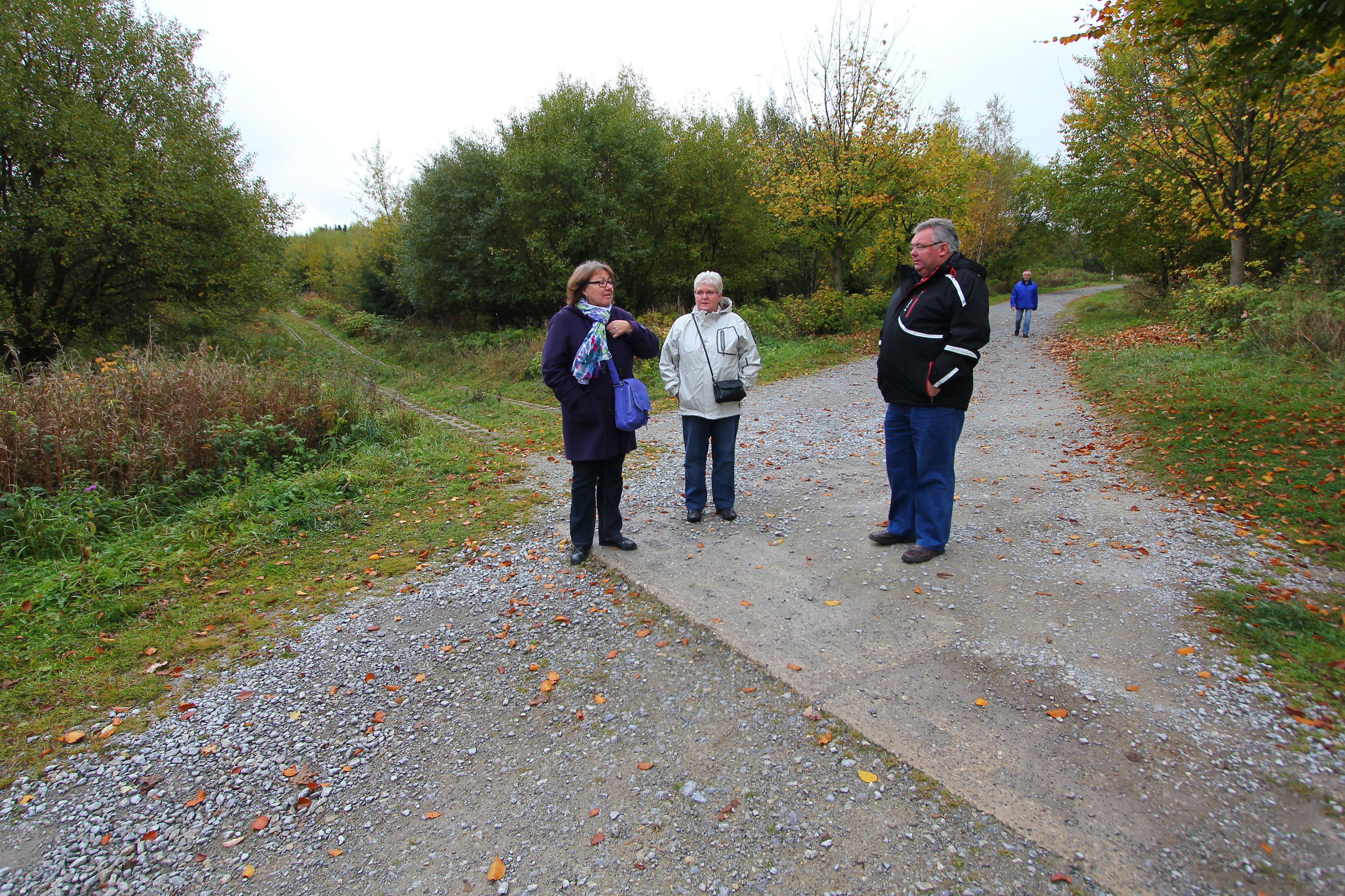 Vi er forsat vores rejse og er stoppet ved et af de steder hvor grænsen gik mellem øst- og vesttyskland. Vejen der går på tværs var grænsevagternes rute langs hegnet. På billedet ses Lisbeth Neslein og Inge og Bjarne Elkjær.