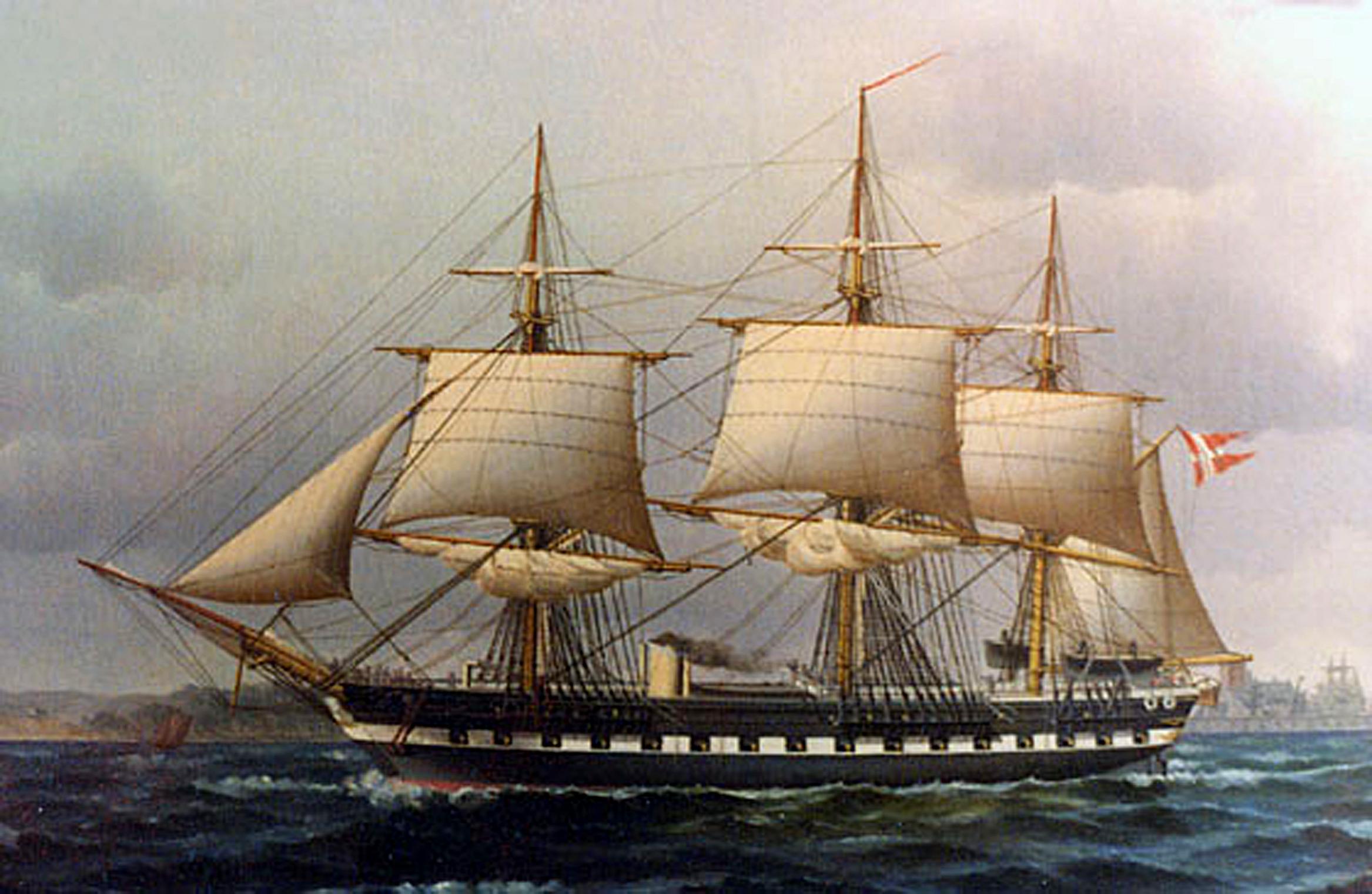 """31Maleri af """"Fregatten Jylland"""" med røg fra skorstenen og med sejl."""