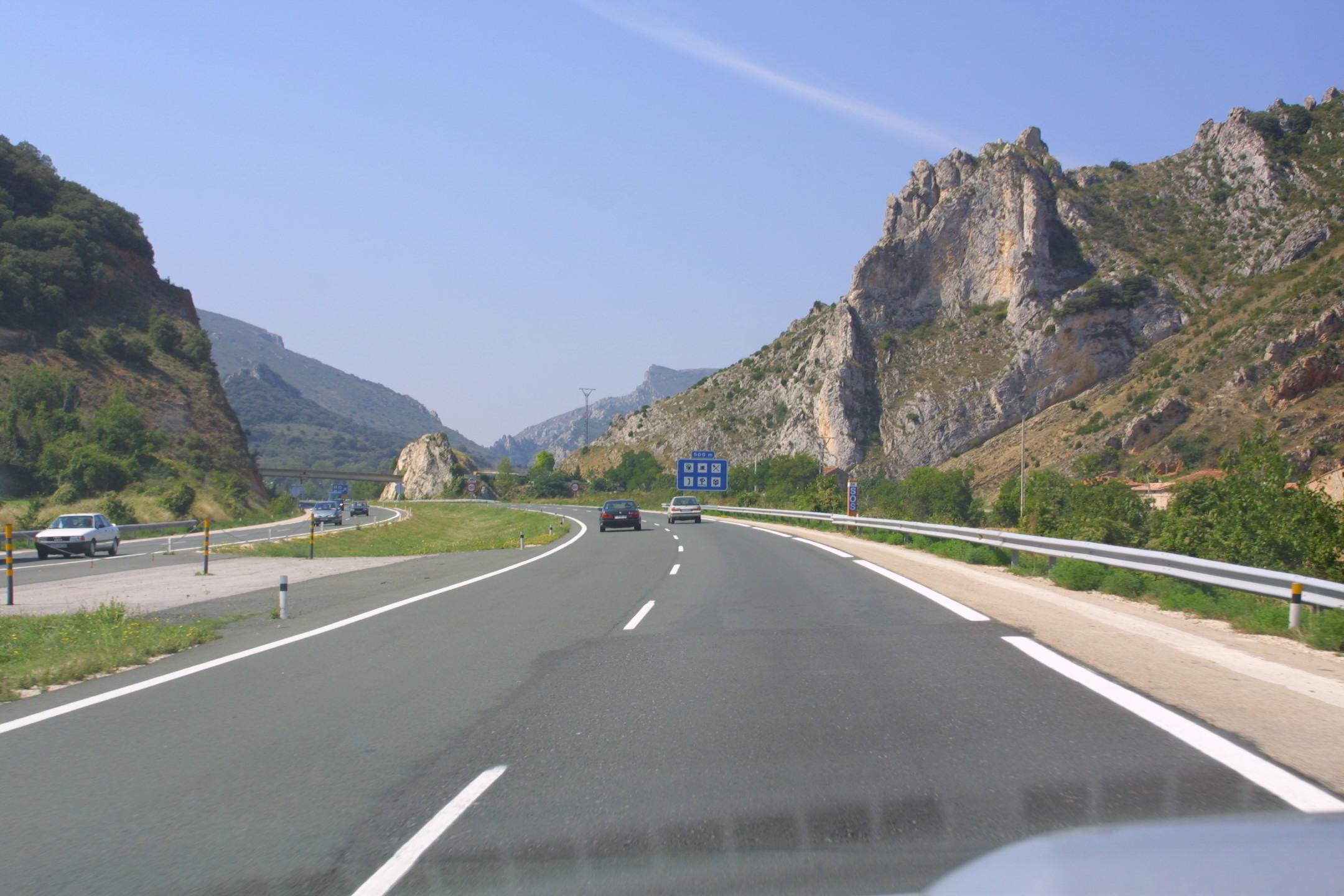 På vej mod syd i Spanien efter Pyrenærerne.