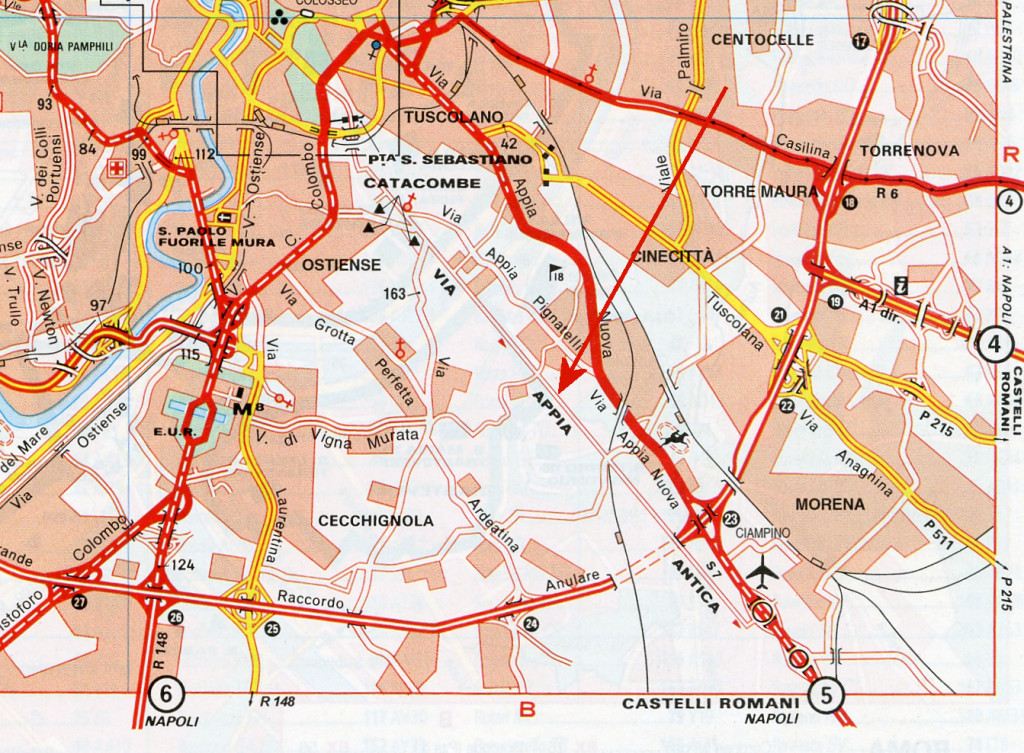Kortudsnittet viser Roms sydlige udkant med de parallelt forløbende Via Appia Antica og Via Appia Nuova.