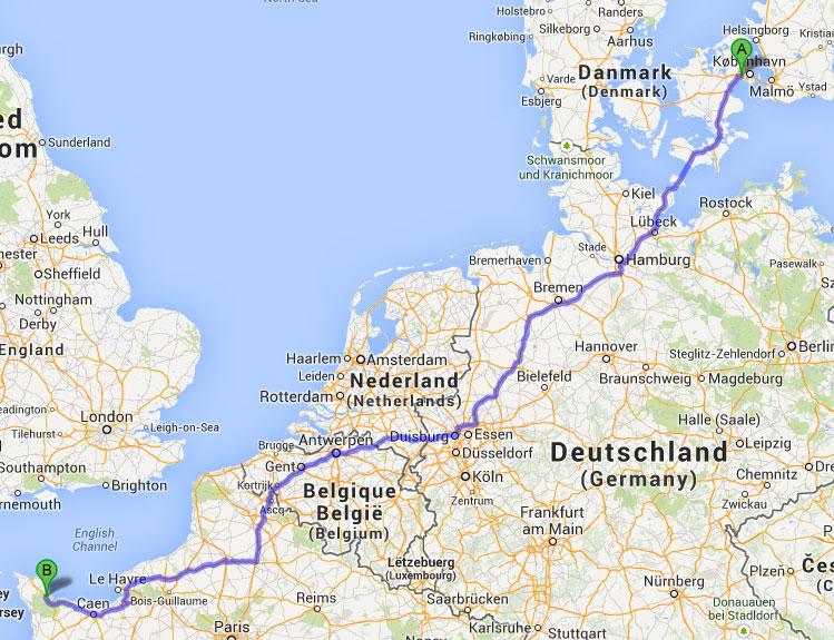 Ruten til D-dags kysten i Normandiet.