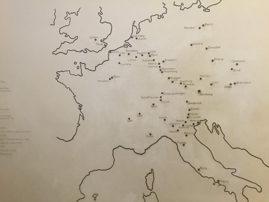 Mozart rejste rigtig meget, han startede allerede som 7 årig på sine rejser. Her er et billede af de byer og lande han besøgte på sine mange rejser.