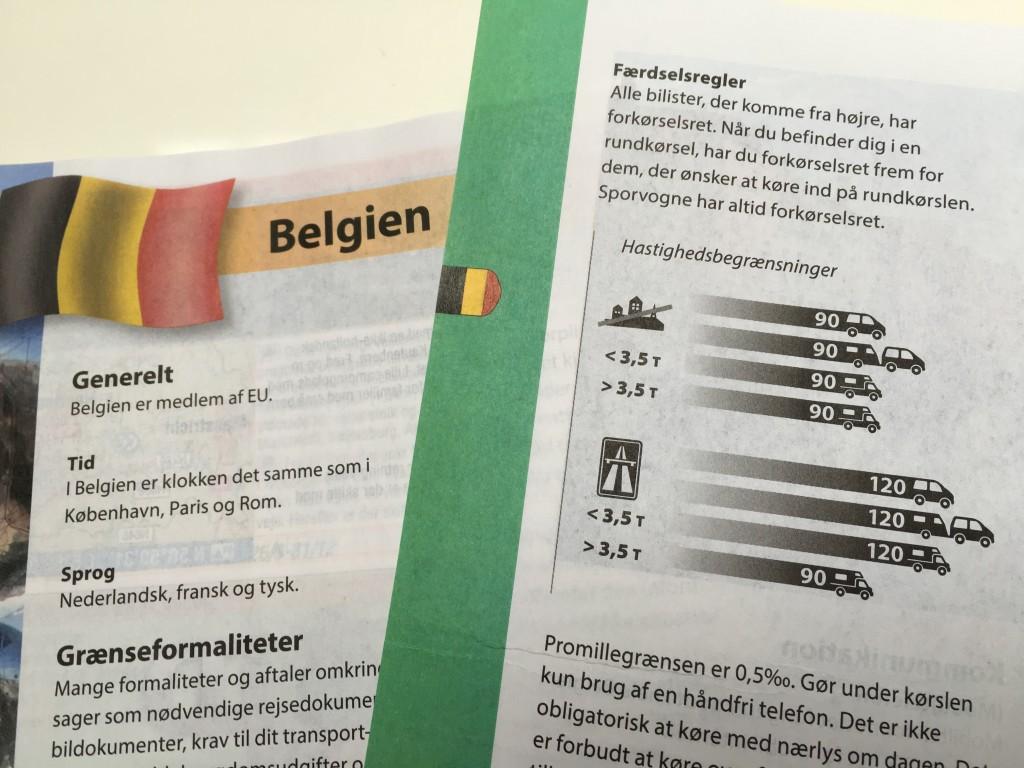 I bøgerne fra ACSI kan du finde en række nyttige informationer når du er på campingtur. Nogle af informationerne overrasker. Her er det bl.a. informationer om hastigheder i Belgien.
