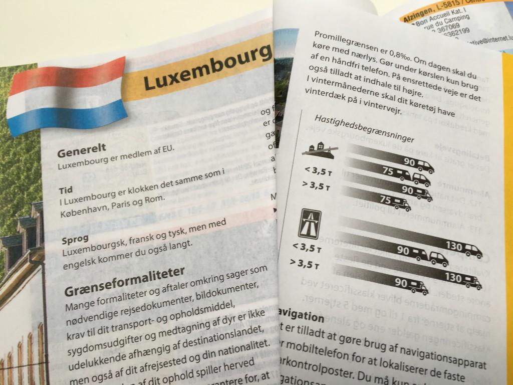 Her er informationer om hastigheder med campingvogn i Luxembourg.