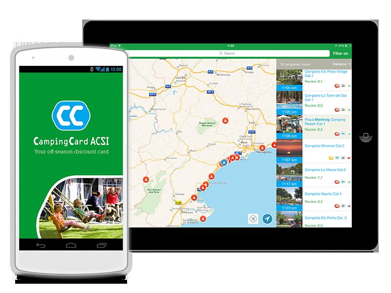 Her er et kort fra ACSI App'en over Prag og omegn med oversigt over campingpladserne i nærheden. Da jeg holder på pladsen vises en blå prik (hvor jeg er), med en rød ring (Camping Valek), der er den campingplads jeg er på.