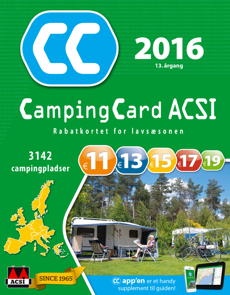 Foruden af finde ACSI campingpladserne til de billige priser i lavsæsonen i bøgerne, kan du også købe en App som du ser forsiden af her. Læs mere på www.campingcard.com/campingferie