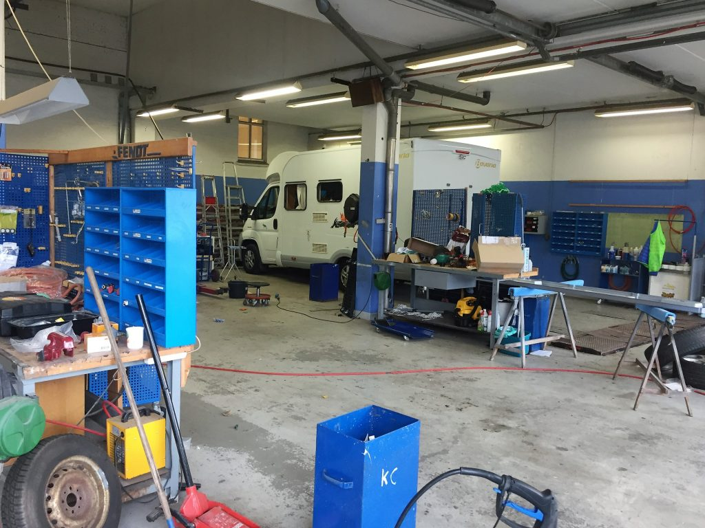 Værkstedet for både campingvogne, autocampere og trailere.