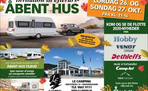 Åbent Hus hos LE Camping den 26+27 oktober 2019