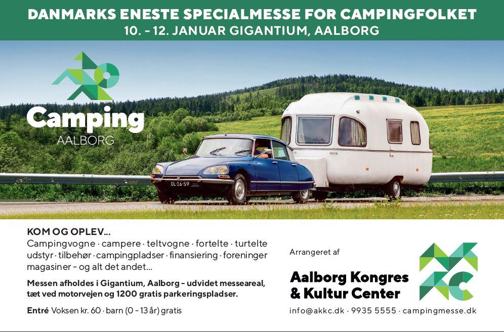 Campingudstilling i Aalborg samt udsalg hos Camping Kim i Viborg og Bije Fritid og Camping i Helsinge (Reklame)