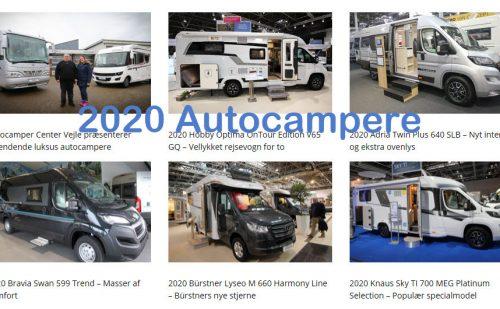 Overblik over autocampere og udstyr fra årgang 2020