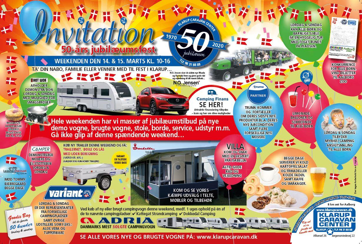Klarup Caravan Center fejrer 50 års Jubilæum med kæmpe Åbent Hus den 14 + 15 marts (Reklame)