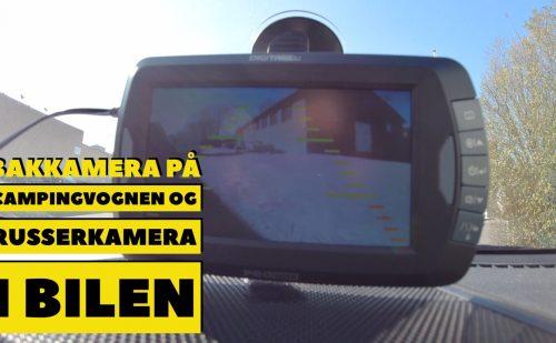 Bakkamera på campingvognen og russerkamera i bilens forrude (Reklame)