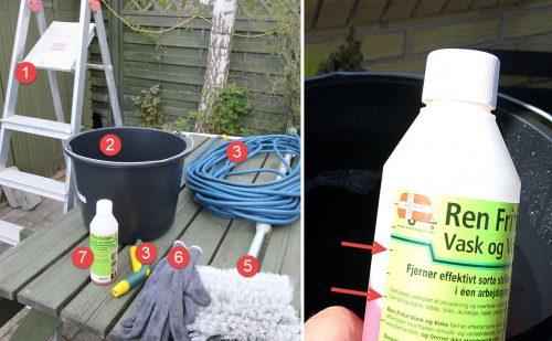 Vask og Voks af en møgbeskidt foråskåd (ældre) campingvogn