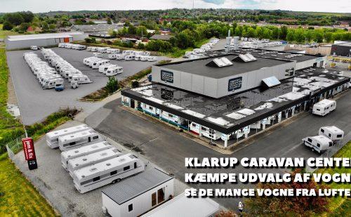 Klarup Caravan Center set fra luften – masser af campingvogne