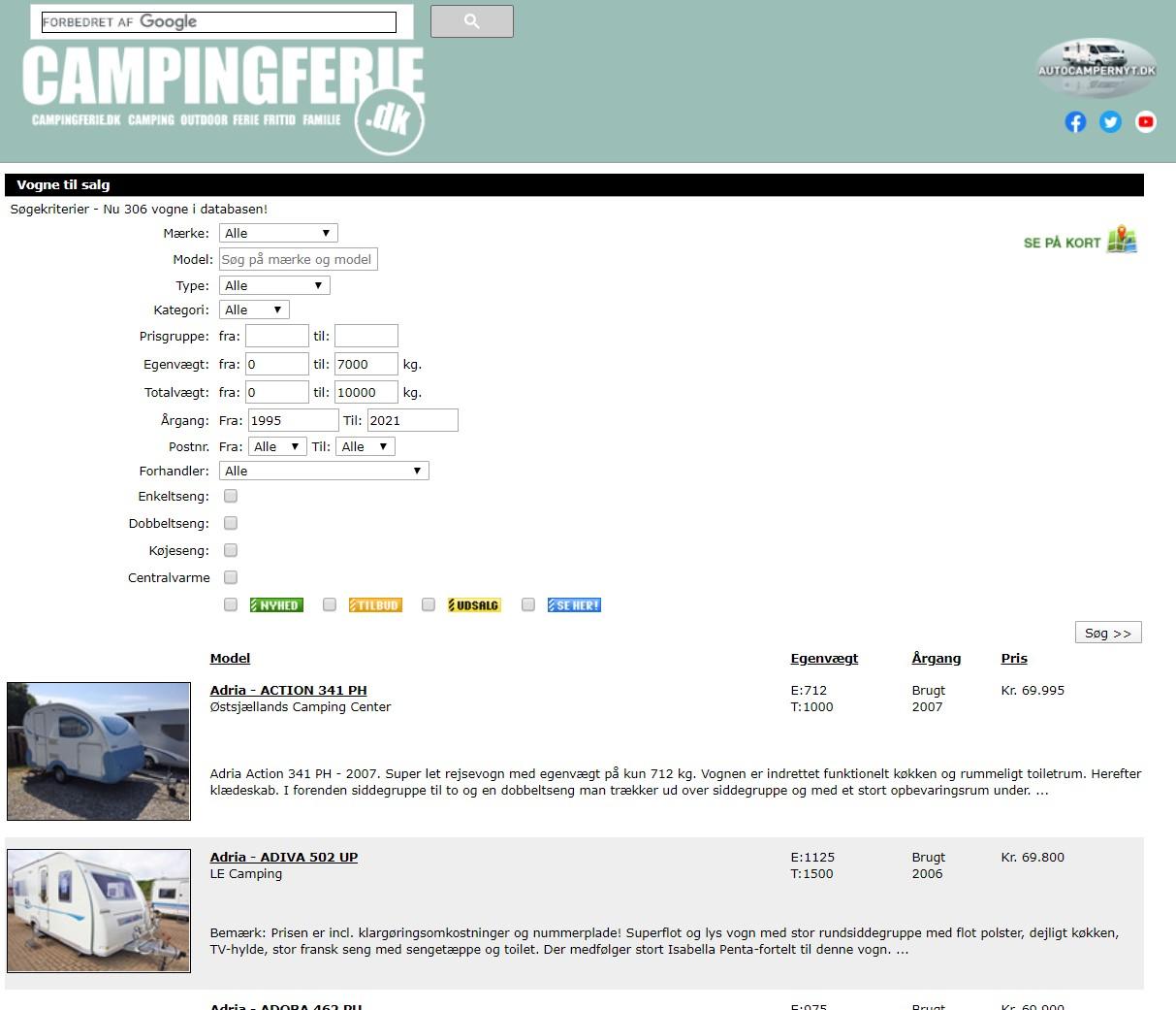 Find din næste nye eller brugte campingvogn her