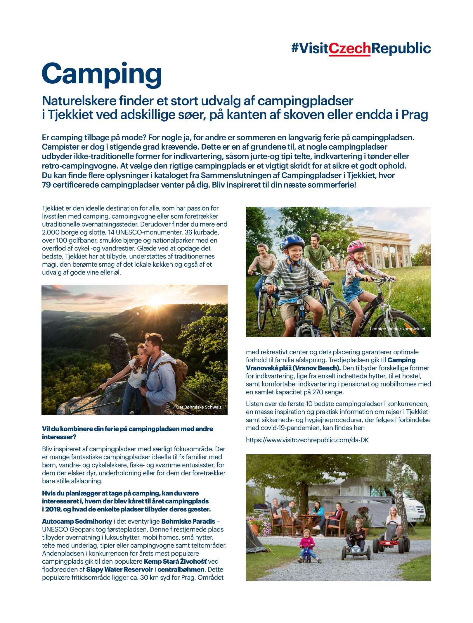 Stort udvalg af campingpladser i Tjekkiet (Reklame)