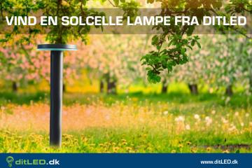Vind en solcelle lampe til haven, campingturen, kolonihaven m.m.